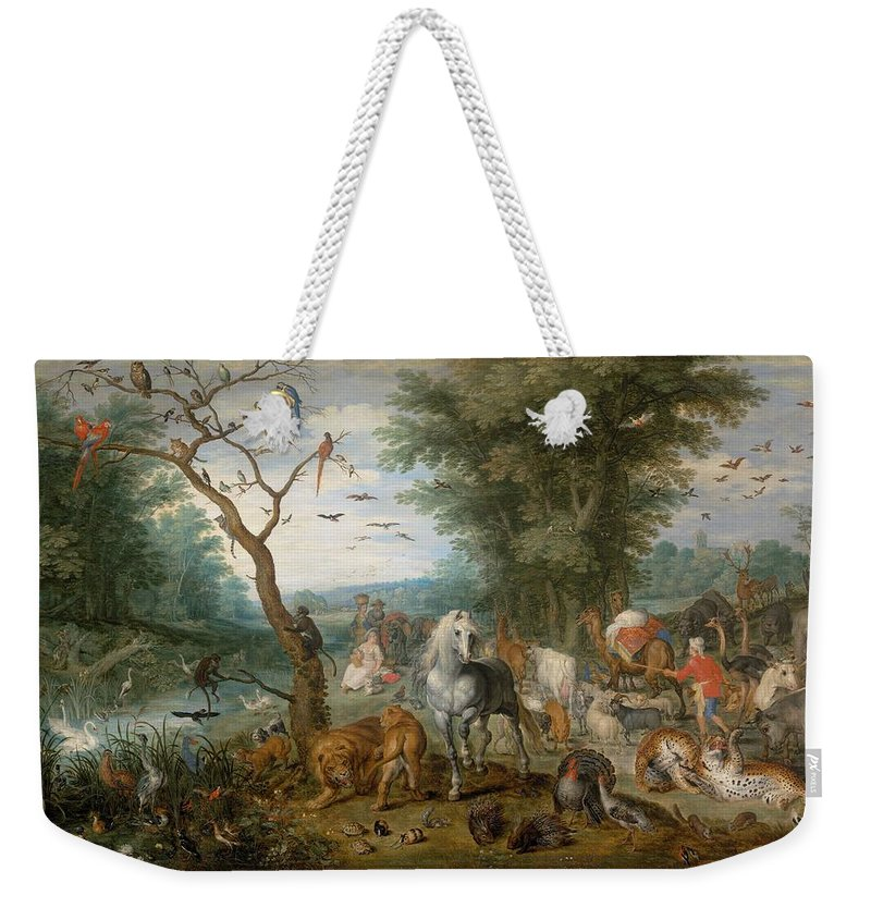 1613 Weekender Tote Bag featuring the painting Paradise Landscape With Animals by Jan Brueghel the Elder