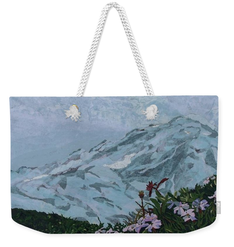 Landscape Weekender Tote Bag featuring the painting Paradise Mount Rainier by Leah Tomaino