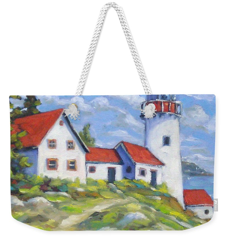 Art Weekender Tote Bag featuring the painting Paradise On The Point by Richard T Pranke
