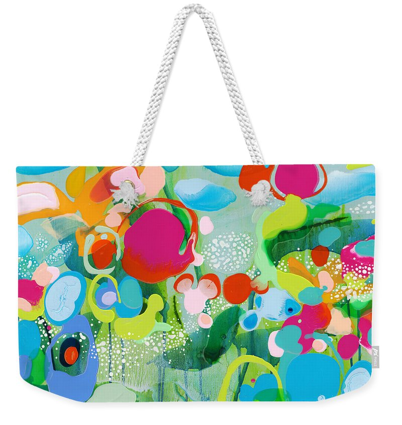 Abstract Weekender Tote Bag featuring the painting Paradise Outer Limits by Claire Desjardins