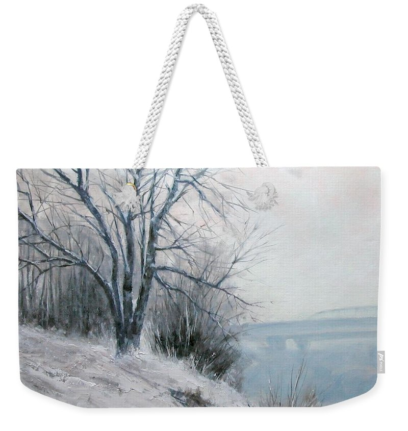Art Weekender Tote Bag featuring the painting Paradise Point Bridge Winter by Jim Gola