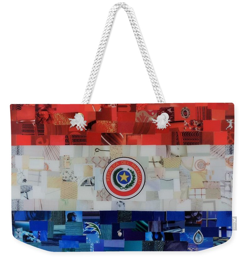 Paraguay Flag Weekender Tote Bag featuring the mixed media Paraguay Flag by Claudia Di Paolo