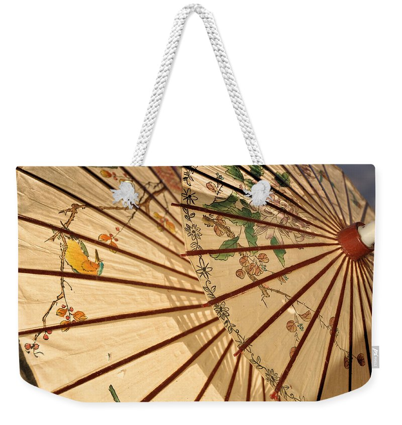 Still Life Weekender Tote Bag featuring the photograph Parasol by Jan Amiss Photography