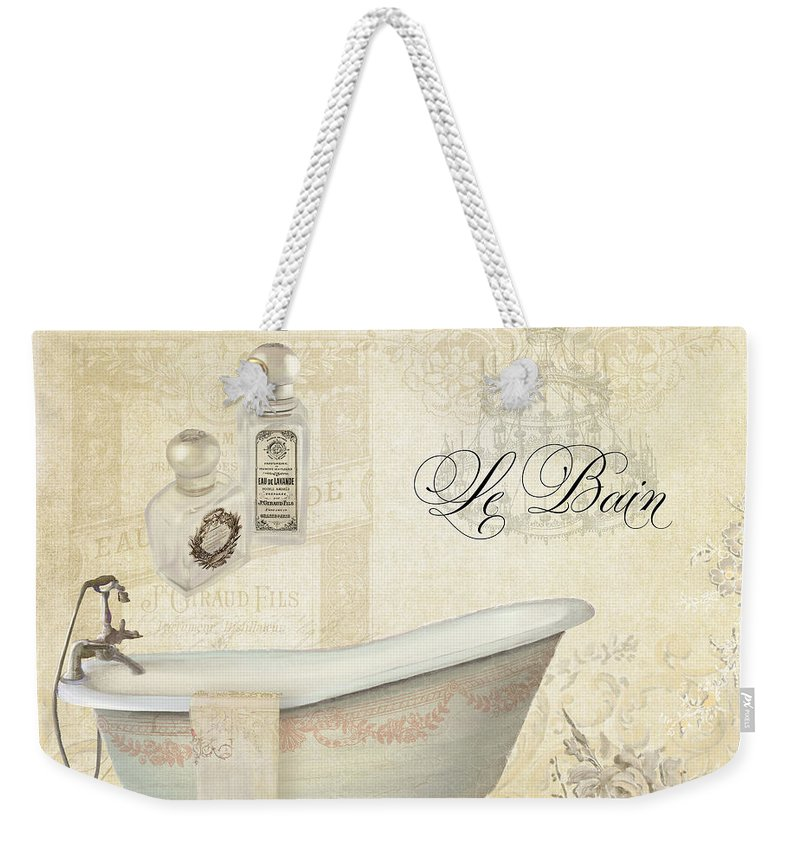 Parchment Weekender Tote Bag featuring the painting Parchment Paris - Le Bain Or The Bath Chandelier And Tub With Roses by Audrey Jeanne Roberts