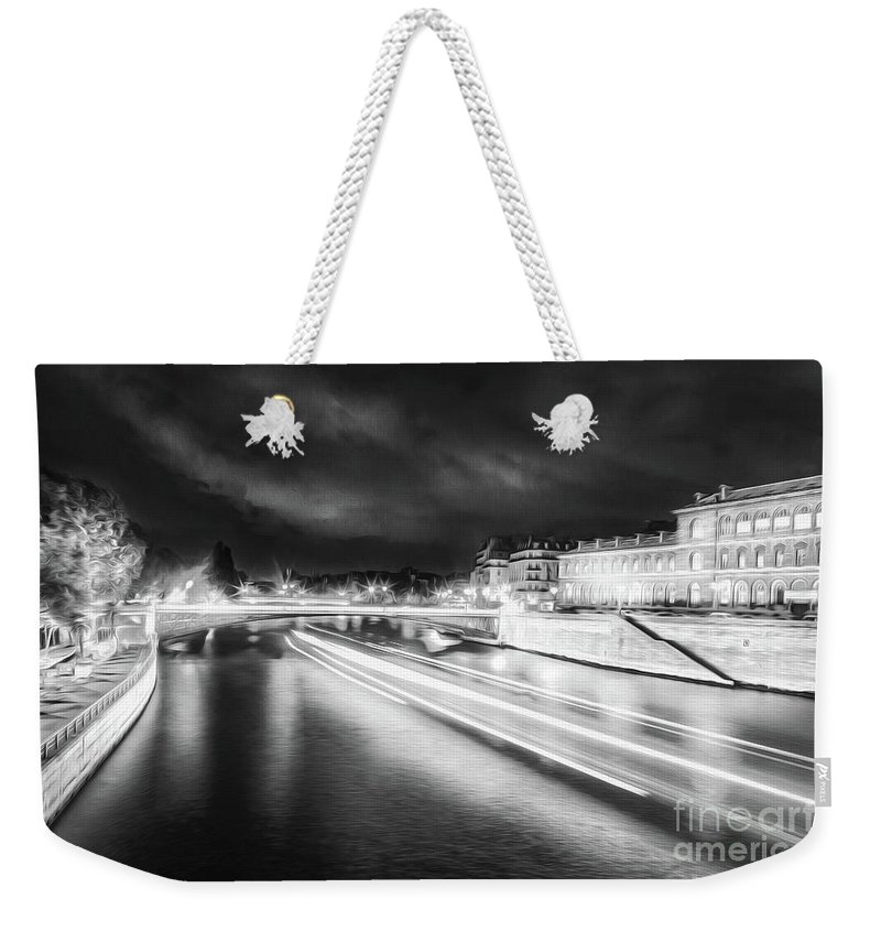 Paris Weekender Tote Bag featuring the photograph Paris At Night 19 Bw Art by Alex Art and Photo