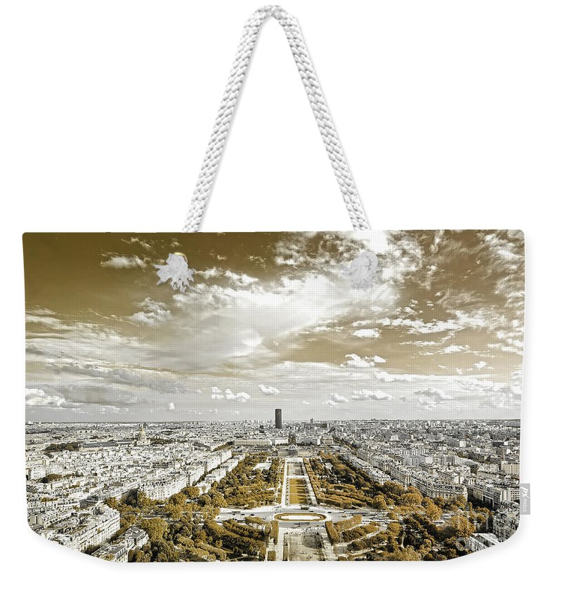 Paris Weekender Tote Bag featuring the photograph Paris City View 20 Sepia by Alex Art and Photo