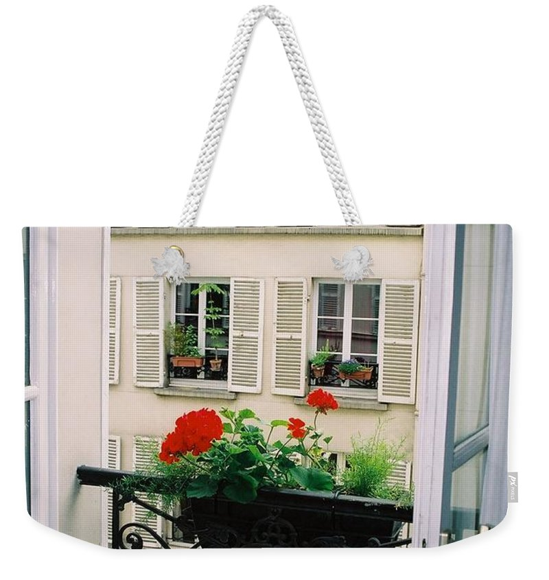 Window Weekender Tote Bag featuring the photograph Paris Day Windowbox by Nadine Rippelmeyer
