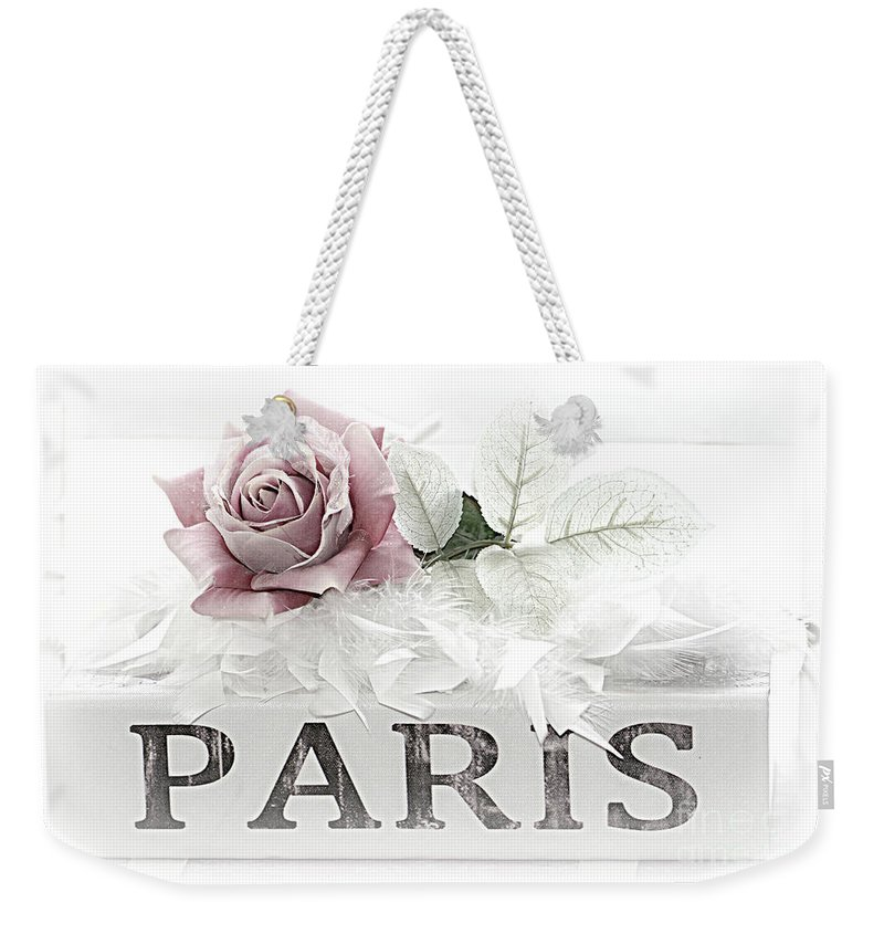 Paris Pastel Rose Photography Weekender Tote Bag featuring the photograph Paris Dreamy Pastel Pink Roses On Paris Book - Romantic Paris Roses And Books Shabby Chic Art by Kathy Fornal