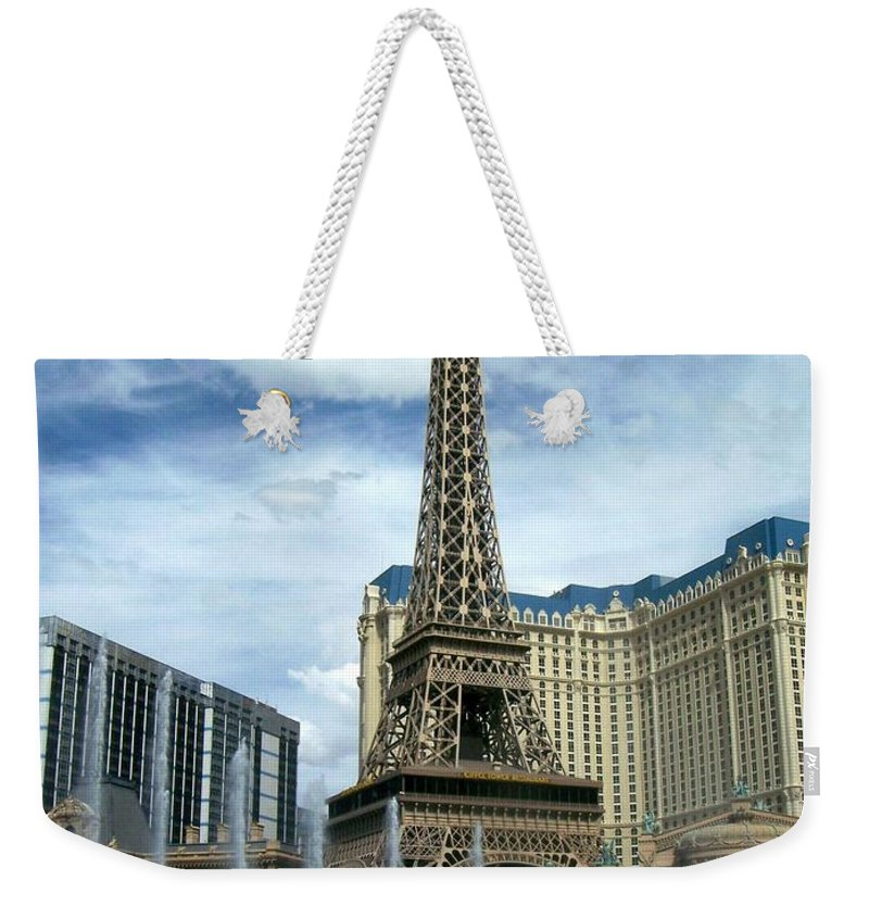 Pars Hotel Weekender Tote Bag featuring the photograph Paris Hotel And Bellagio Fountains by Anita Burgermeister