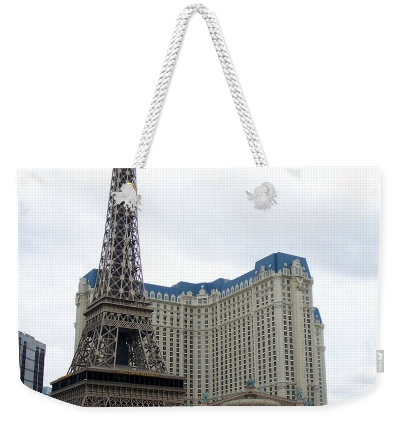 Bellagio Weekender Tote Bag featuring the photograph Paris Hotel by Anita Burgermeister