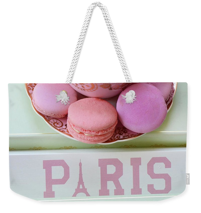 French Macarons Weekender Tote Bag featuring the photograph Paris Laduree Macarons - Pink Paris Macarons - Shabby Chic Laduree Paris Macarons Decor by Kathy Fornal