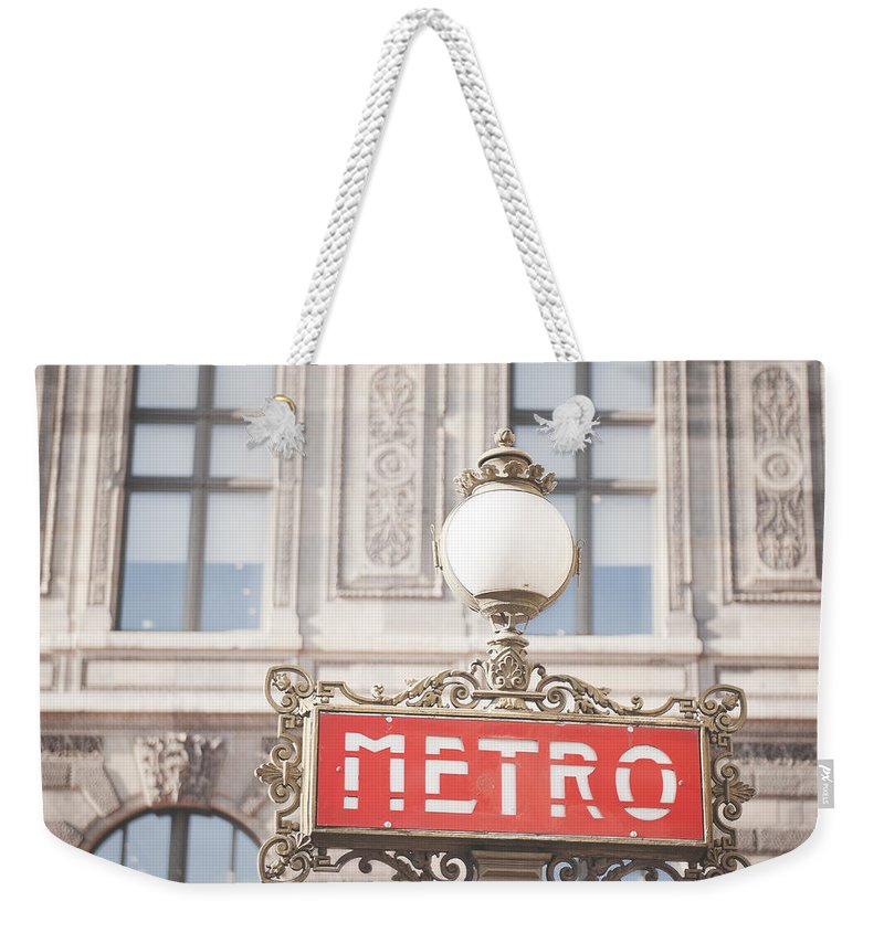 Photography Weekender Tote Bag featuring the photograph Paris Metro Sign Architecture by Ivy Ho