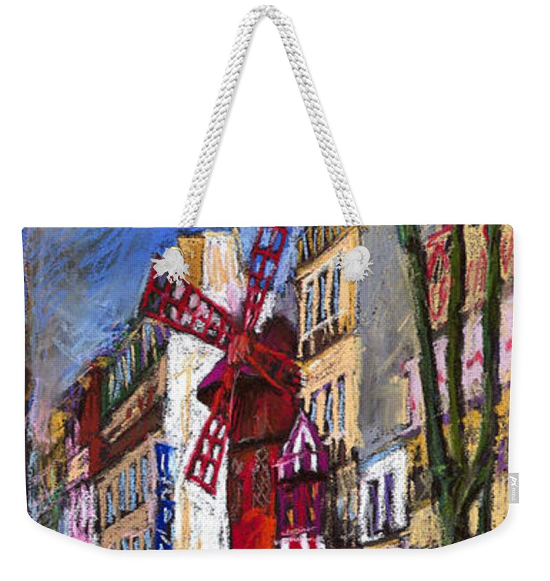 Cityscape Weekender Tote Bag featuring the painting Paris Mulen Rouge by Yuriy Shevchuk