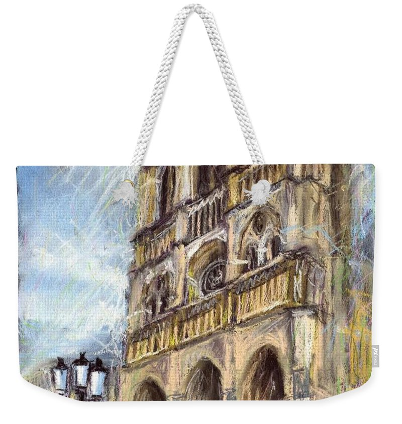 Cityscape Weekender Tote Bag featuring the pastel Paris Notre-dame De Paris by Yuriy Shevchuk