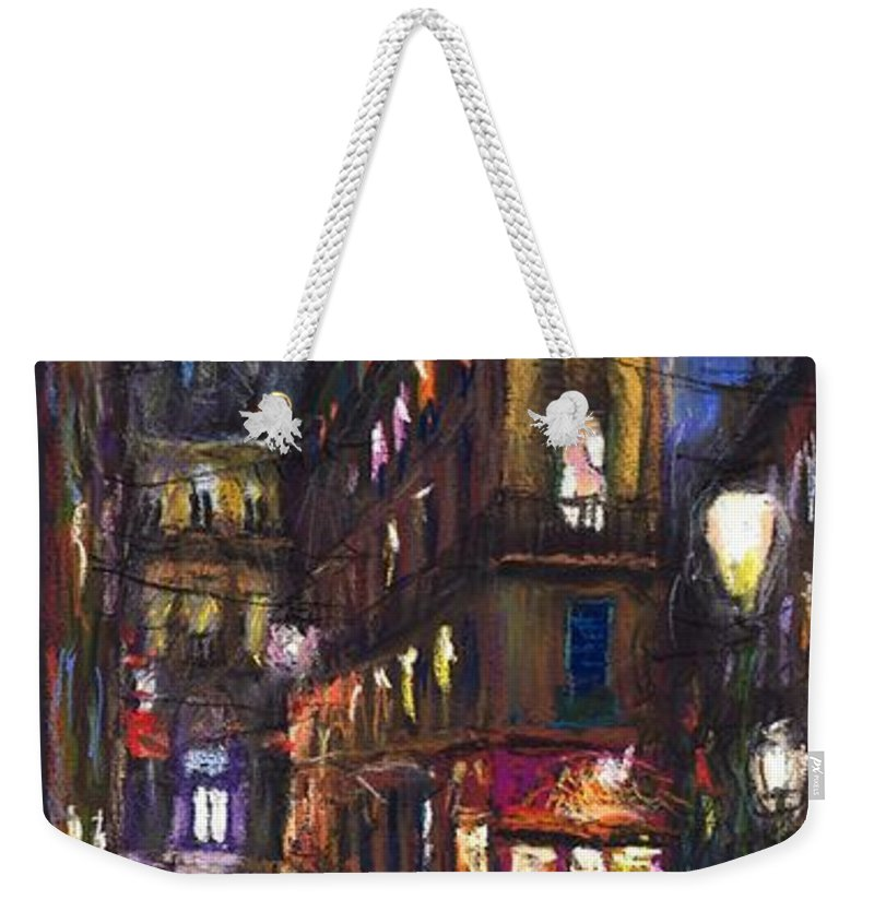 Landscape Weekender Tote Bag featuring the painting Paris Old Street by Yuriy Shevchuk