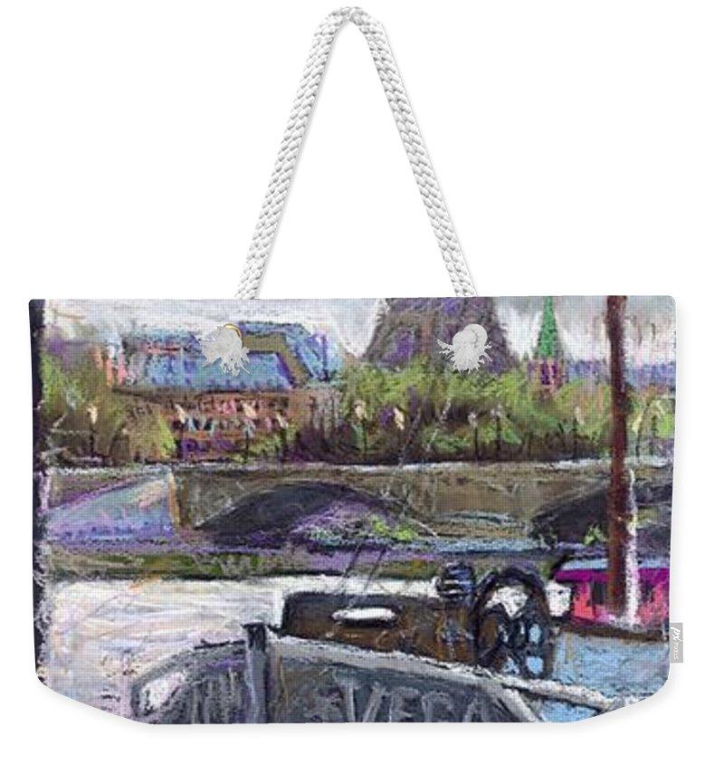 Pastel Weekender Tote Bag featuring the painting Paris Pont Alexandre IIi by Yuriy Shevchuk
