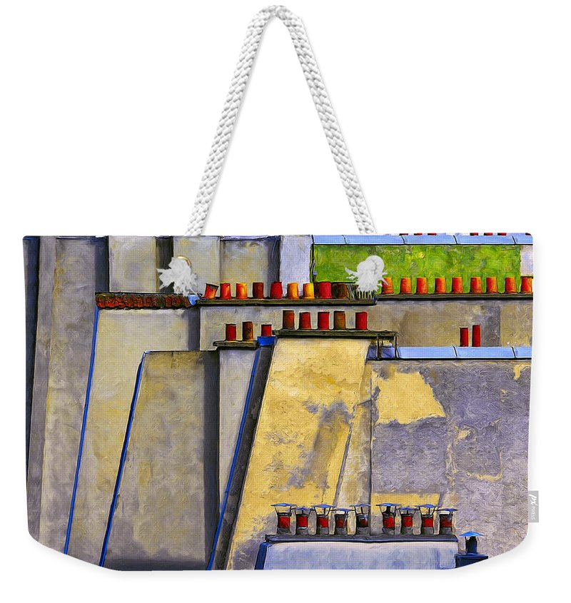 Paris Weekender Tote Bag featuring the painting Paris Roof Tops 1 by Dominic Piperata