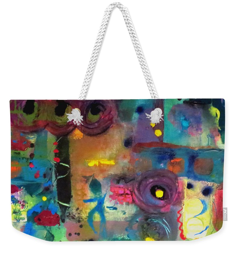 Paris Weekender Tote Bag featuring the painting Paris Rush Hour by Cheryl Wilson