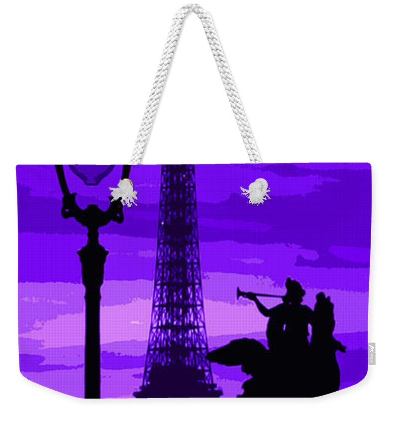 Paris Weekender Tote Bag featuring the photograph Paris Tour Eiffel Violet by Yuriy Shevchuk