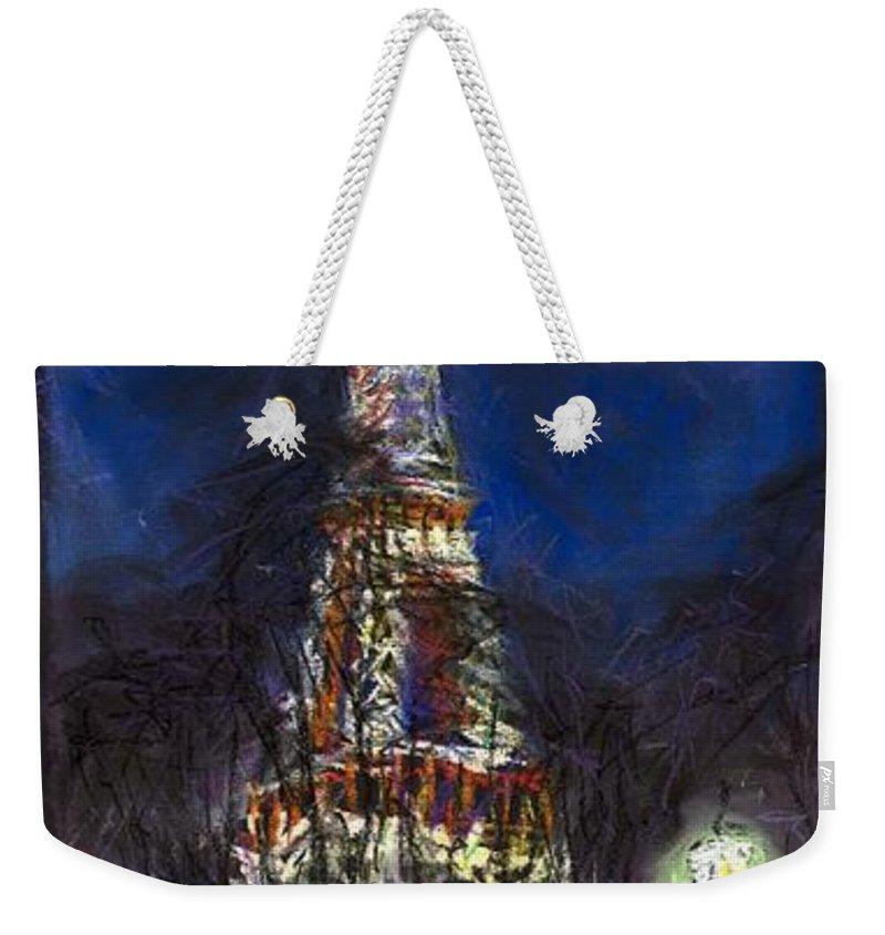 Pastel Weekender Tote Bag featuring the painting Paris Tour Eiffel by Yuriy Shevchuk