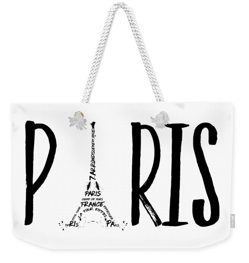 Paris Weekender Tote Bag featuring the digital art Paris Typography by Melanie Viola