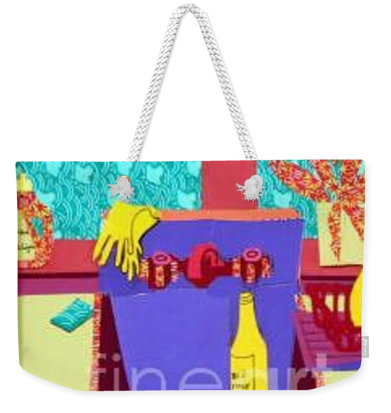 Kitchen Sink Weekender Tote Bag featuring the mixed media Parish Kitchen by Debra Bretton Robinson