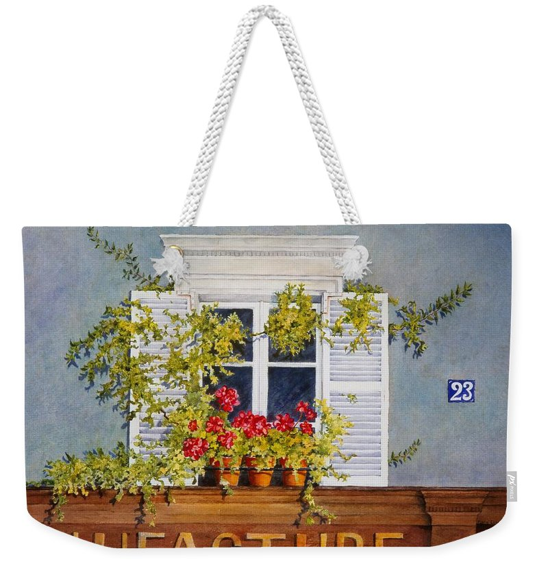 France Weekender Tote Bag featuring the painting Parisian Window by Mary Ellen Mueller Legault