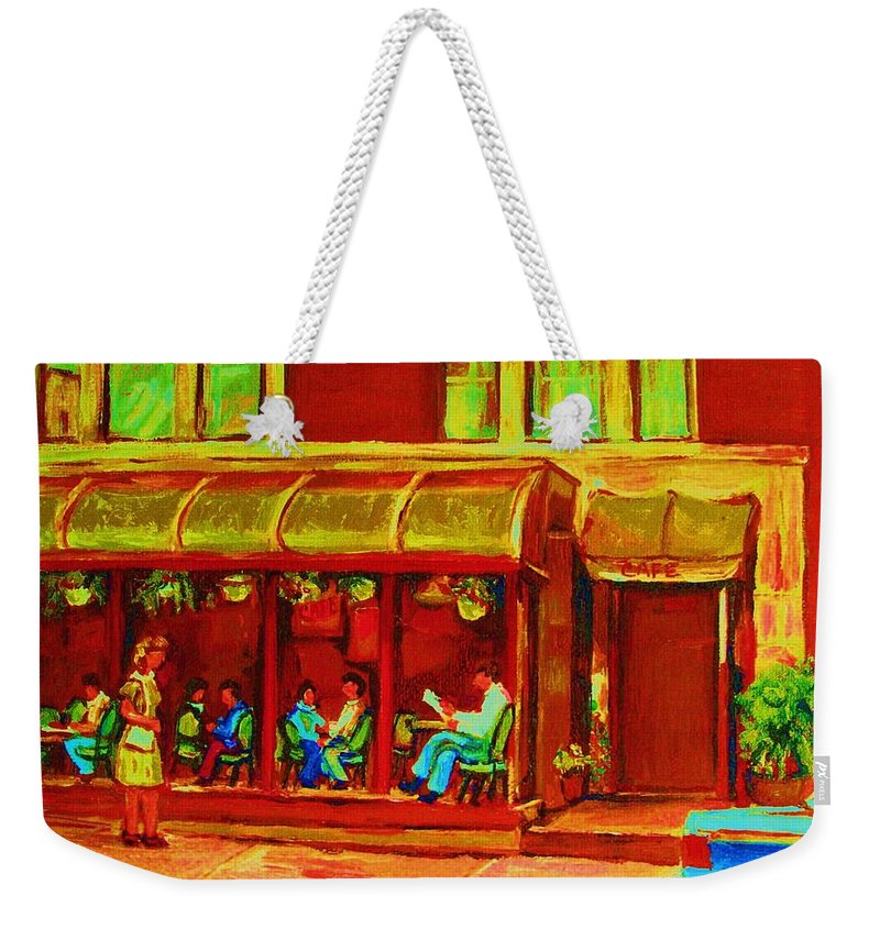 Montreal Weekender Tote Bag featuring the painting Park Avenue Montreal Cafe Scene by Carole Spandau