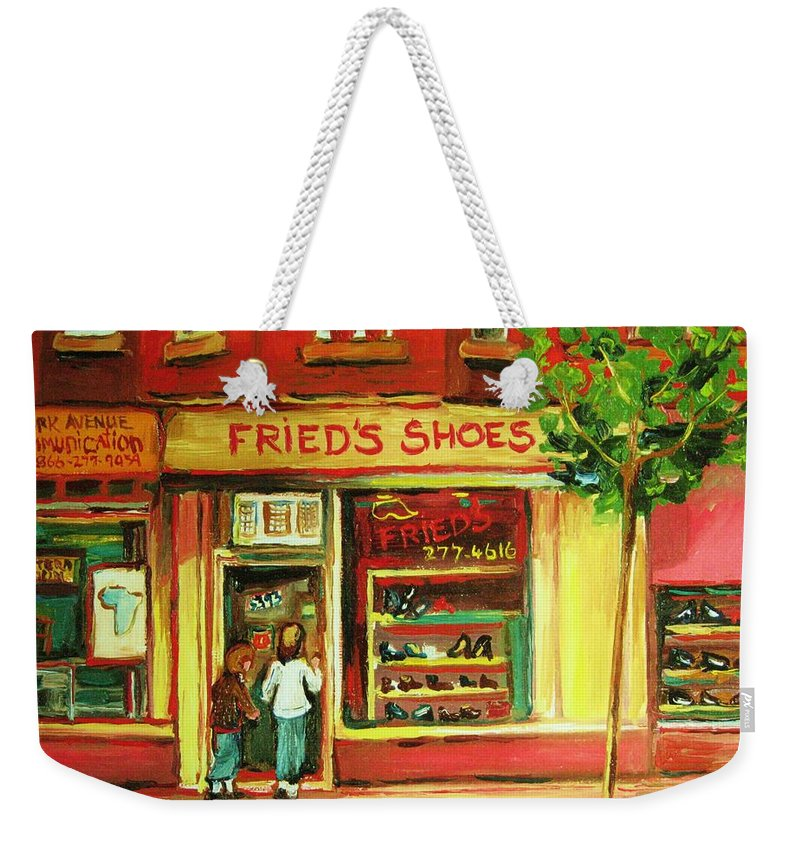 Montreal Weekender Tote Bag featuring the painting Park Avenue Shoe Store by Carole Spandau
