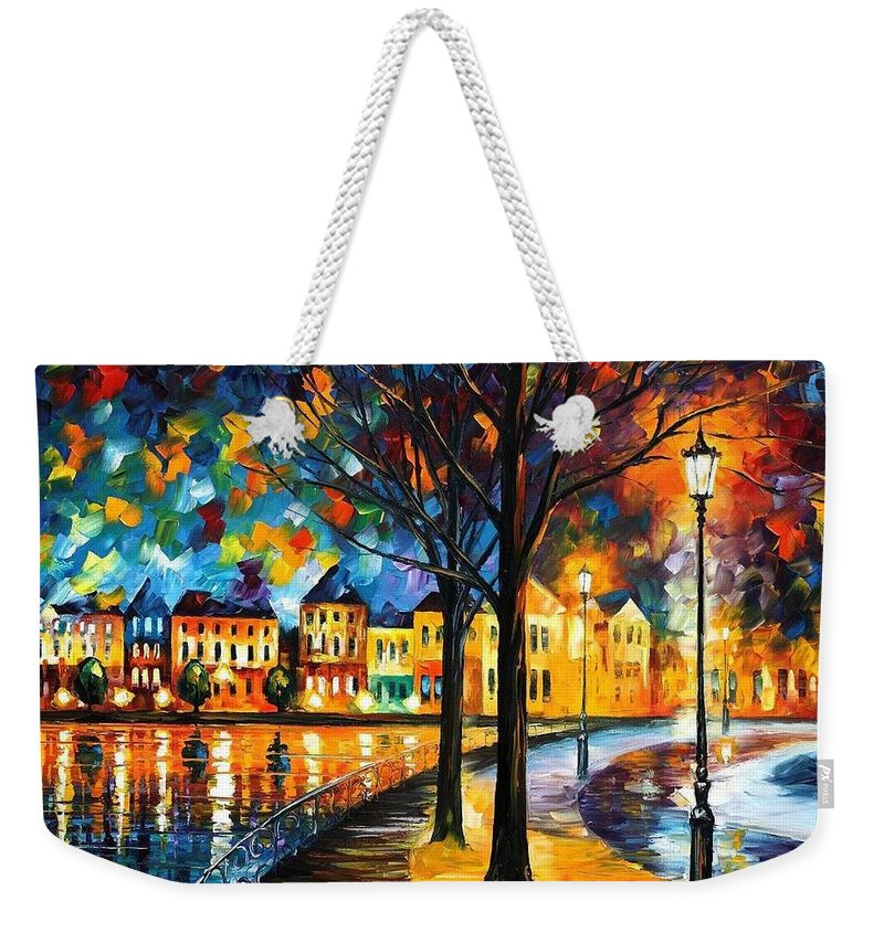 Afremov Weekender Tote Bag featuring the painting Park By The River by Leonid Afremov