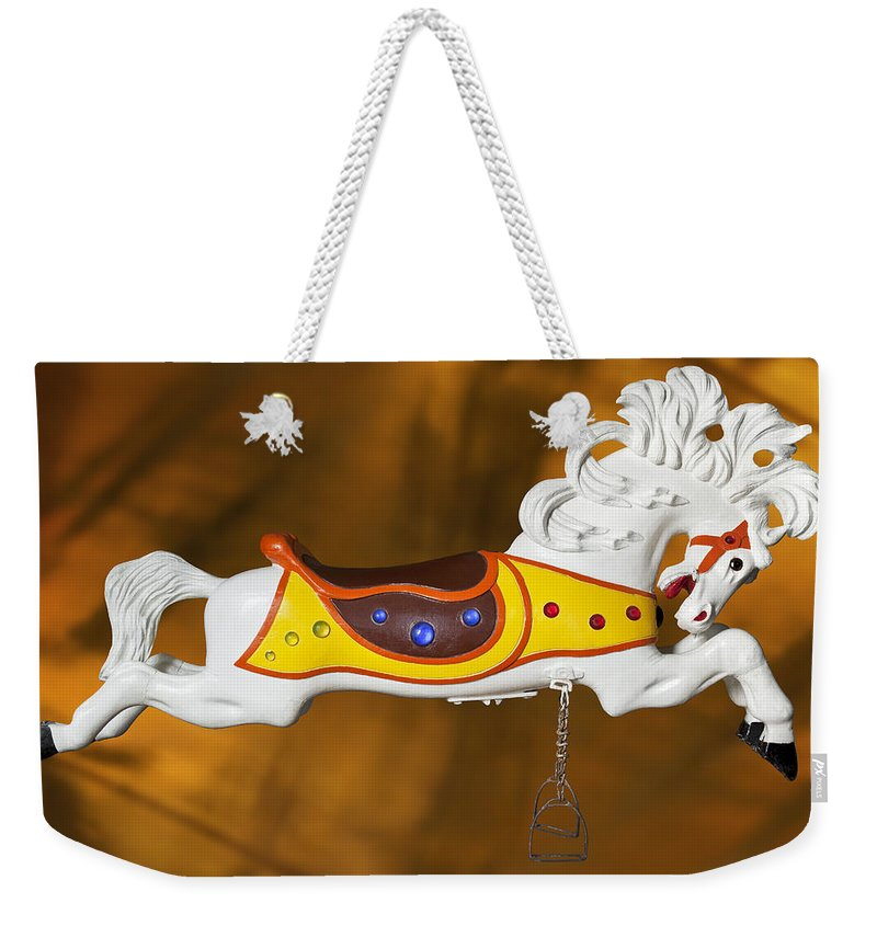 Carousel Horse Weekender Tote Bag featuring the photograph Parker Flying Carousel Horse 1 by Kelley King