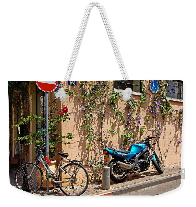 Parking Weekender Tote Bag featuring the photograph Parking Corner by Zal Latzkovich