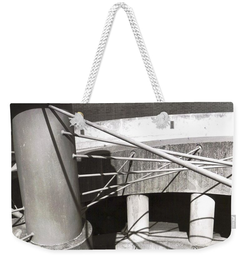 Black And White Photograph Weekender Tote Bag featuring the photograph Parking Garage by Thomas Valentine