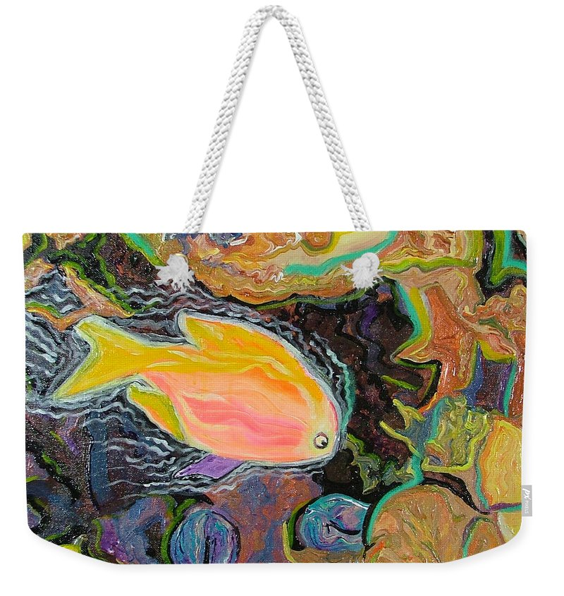 Neon Weekender Tote Bag featuring the painting Parrot Fish Are Transgendered by Heather Lennox