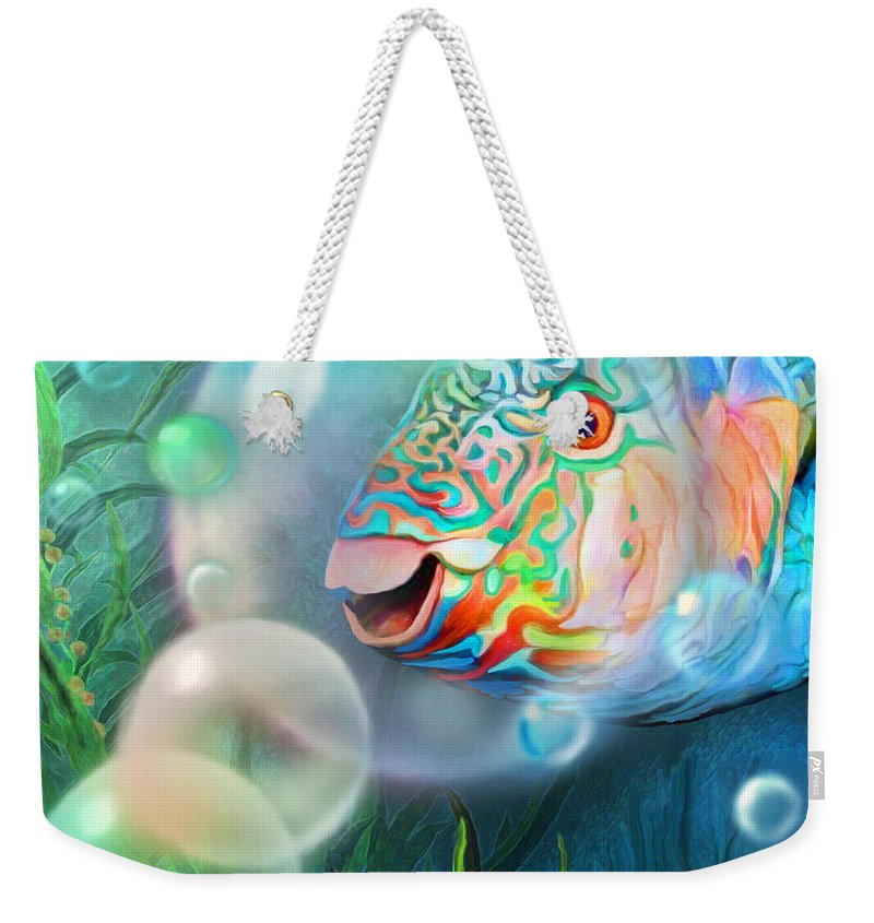Parrot Fish - Through A Bubble Weekender Tote Bag featuring the mixed media Parrot Fish - Through A Bubble by Carol Cavalaris