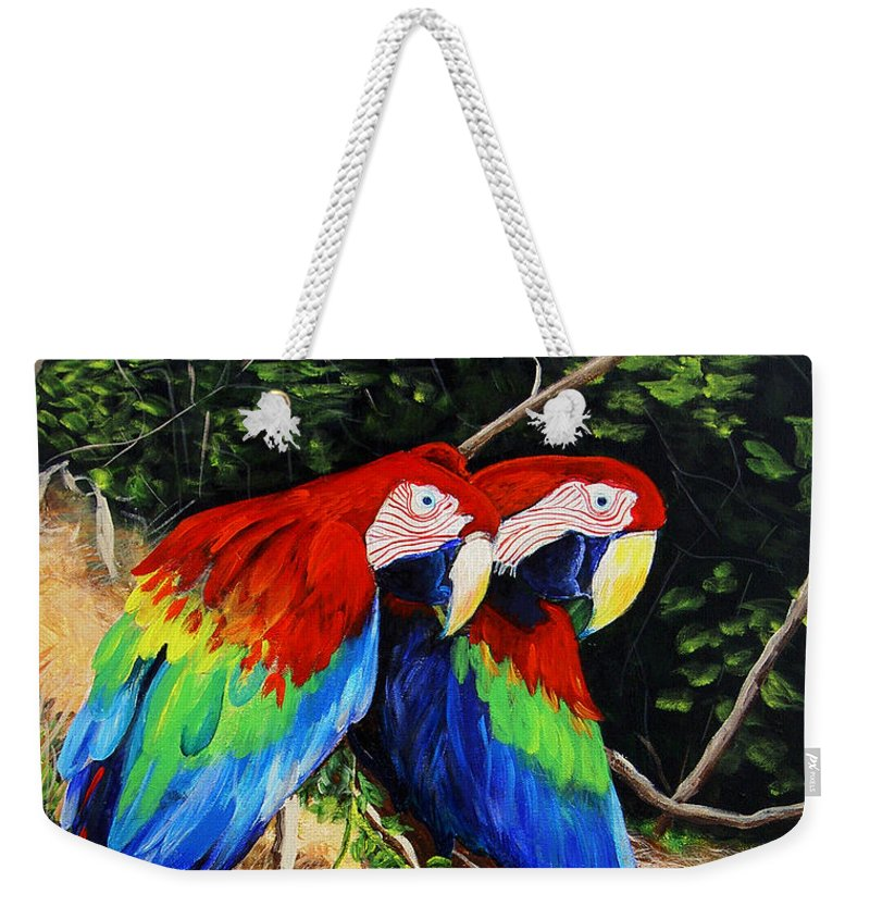 Blue Weekender Tote Bag featuring the painting Parrots In The Jungle by Dominica Alcantara