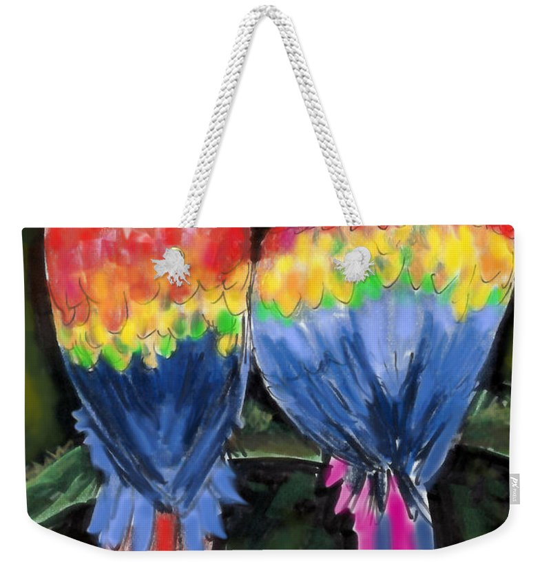 Parrot Weekender Tote Bag featuring the painting Parrots by Kevin Middleton