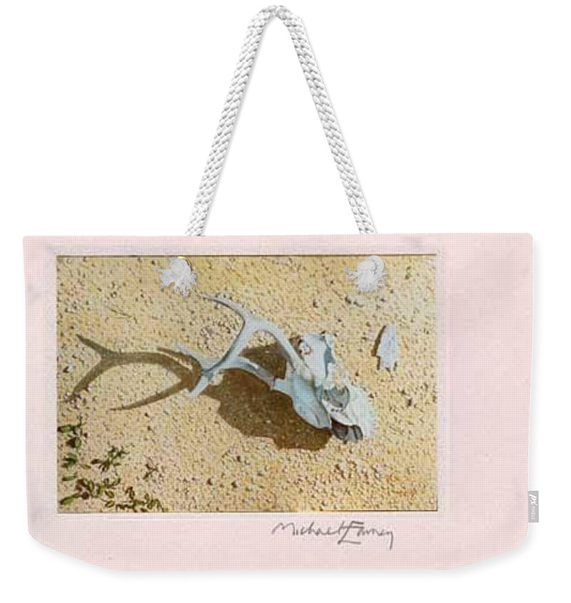 Hyperrealism Weekender Tote Bag featuring the painting Partially Buried Frog Fruit by Michael Earney