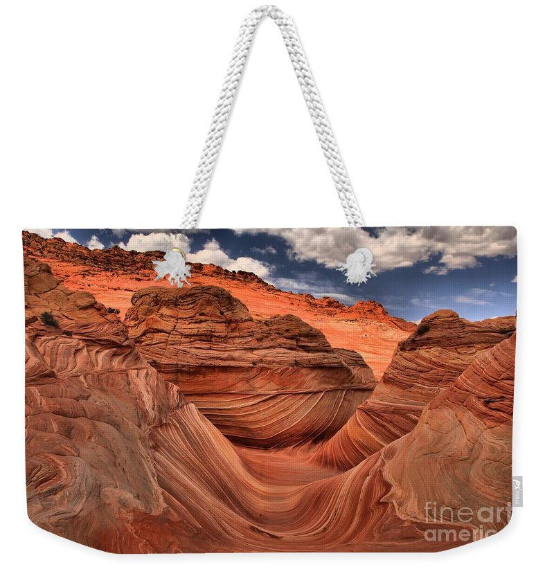 The Wave Weekender Tote Bag featuring the photograph Partly Cloudy At The Wave by Adam Jewell