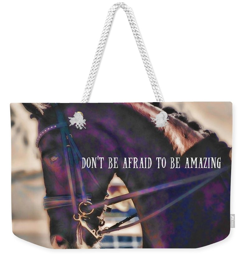 Horse Weekender Tote Bag featuring the photograph Partner Connection Quote by JAMART Photography