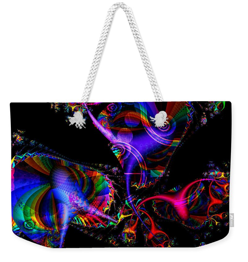 Colorful Weekender Tote Bag featuring the digital art Party All The Time by Claire Bull
