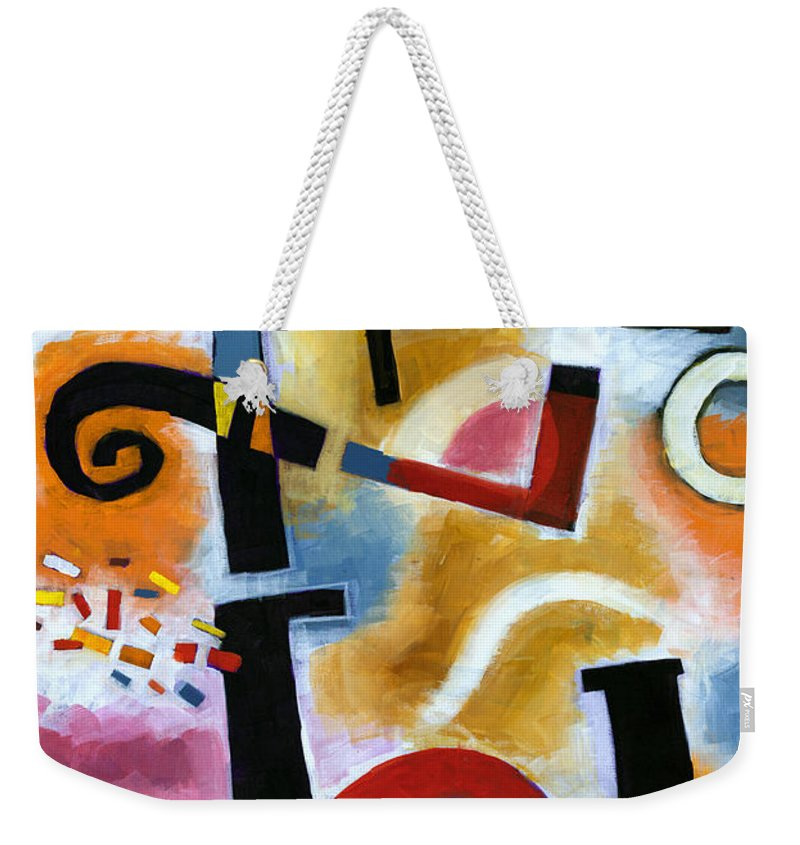 Abstract Weekender Tote Bag featuring the painting Party In The Kitchen by Douglas Simonson