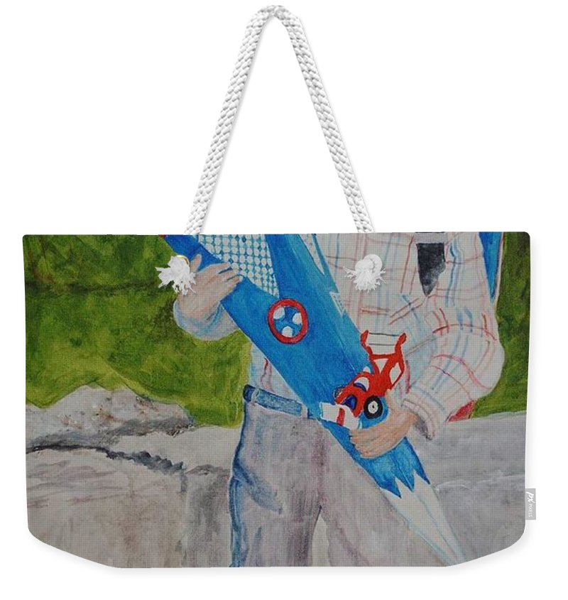 School Weekender Tote Bag featuring the painting Pascals first day at school 2004 by Helmut Rottler