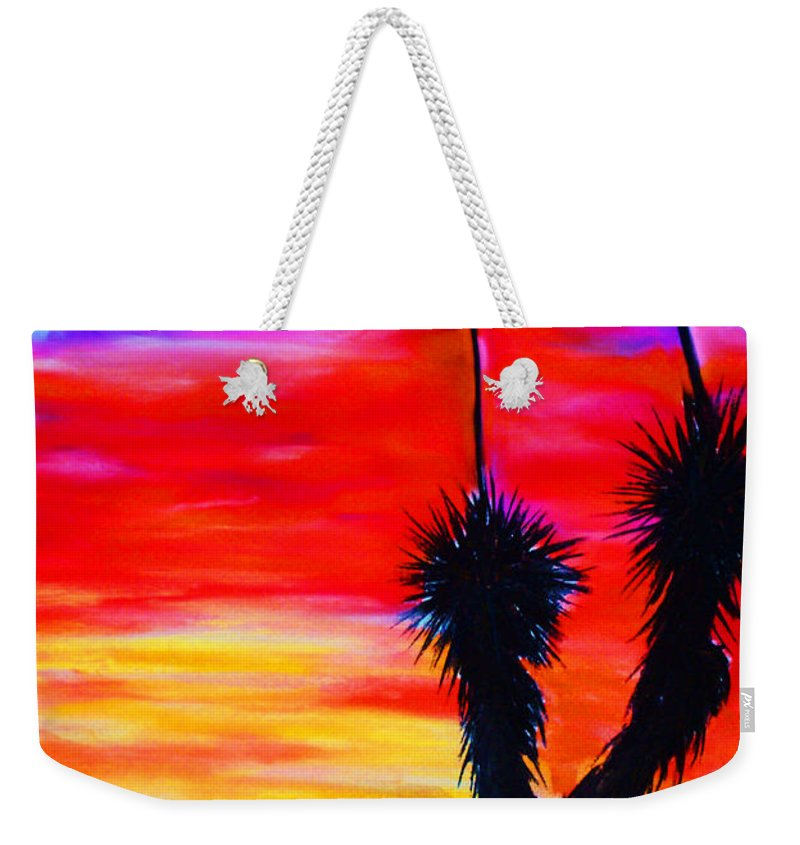 Sunset Weekender Tote Bag featuring the painting Paso Del Norte Sunset 1 by Melinda Etzold