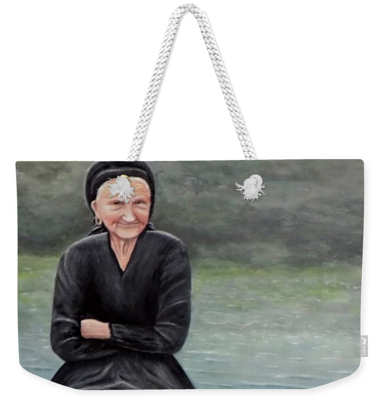 Old Woman Weekender Tote Bag featuring the painting Pasqualina Di Scanno by Judy Kirouac