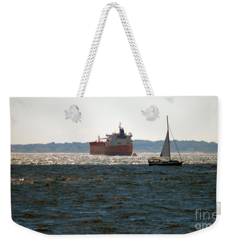 Tanker Weekender Tote Bag featuring the photograph Passing Ships by Ray Konopaske