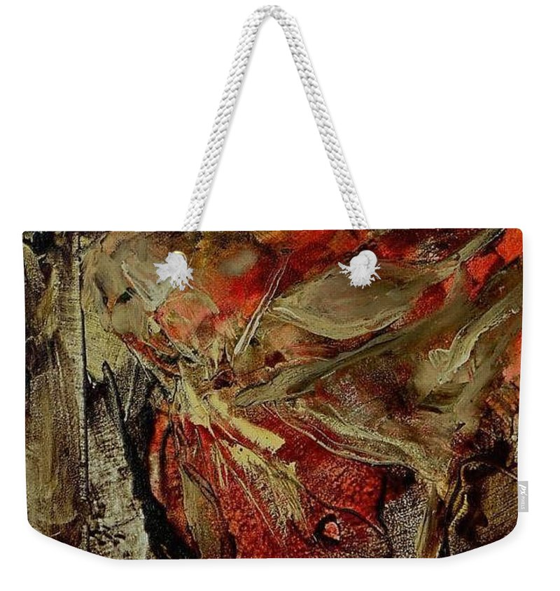 Abstract Weekender Tote Bag featuring the painting Passion  by Rome Matikonyte