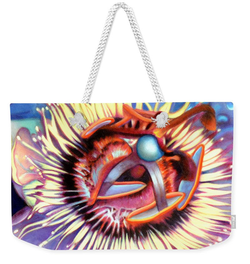 Passion Flower Weekender Tote Bag featuring the painting Passion Flower by Anni Adkins