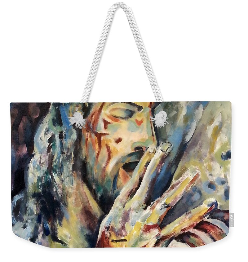 Passion Jesus Christ Bible Abstract Acrylic Canvas Weekender Tote Bag featuring the painting Passion by Hamlet Al Kuti