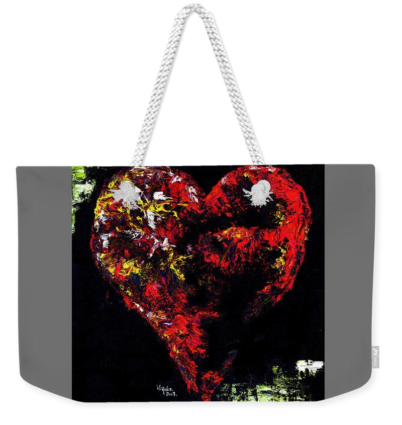 Heart Weekender Tote Bag featuring the painting Passion by Hiroko Sakai